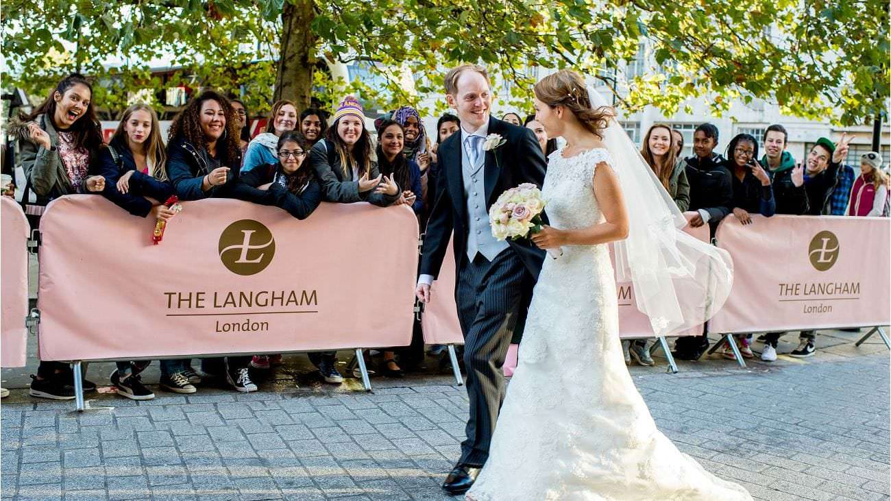 Bride and Groom arrive at The Langham