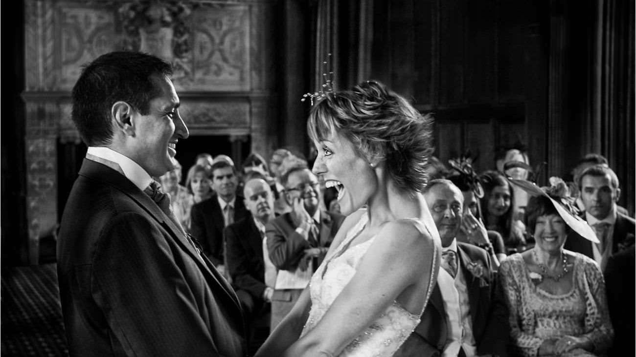 Bride just married during civil service at Tylney Hall