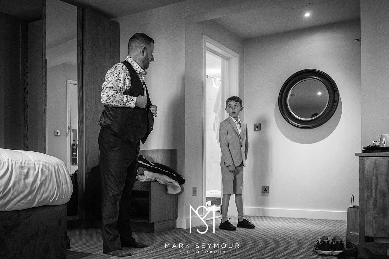 Groom and son at Le Manoir