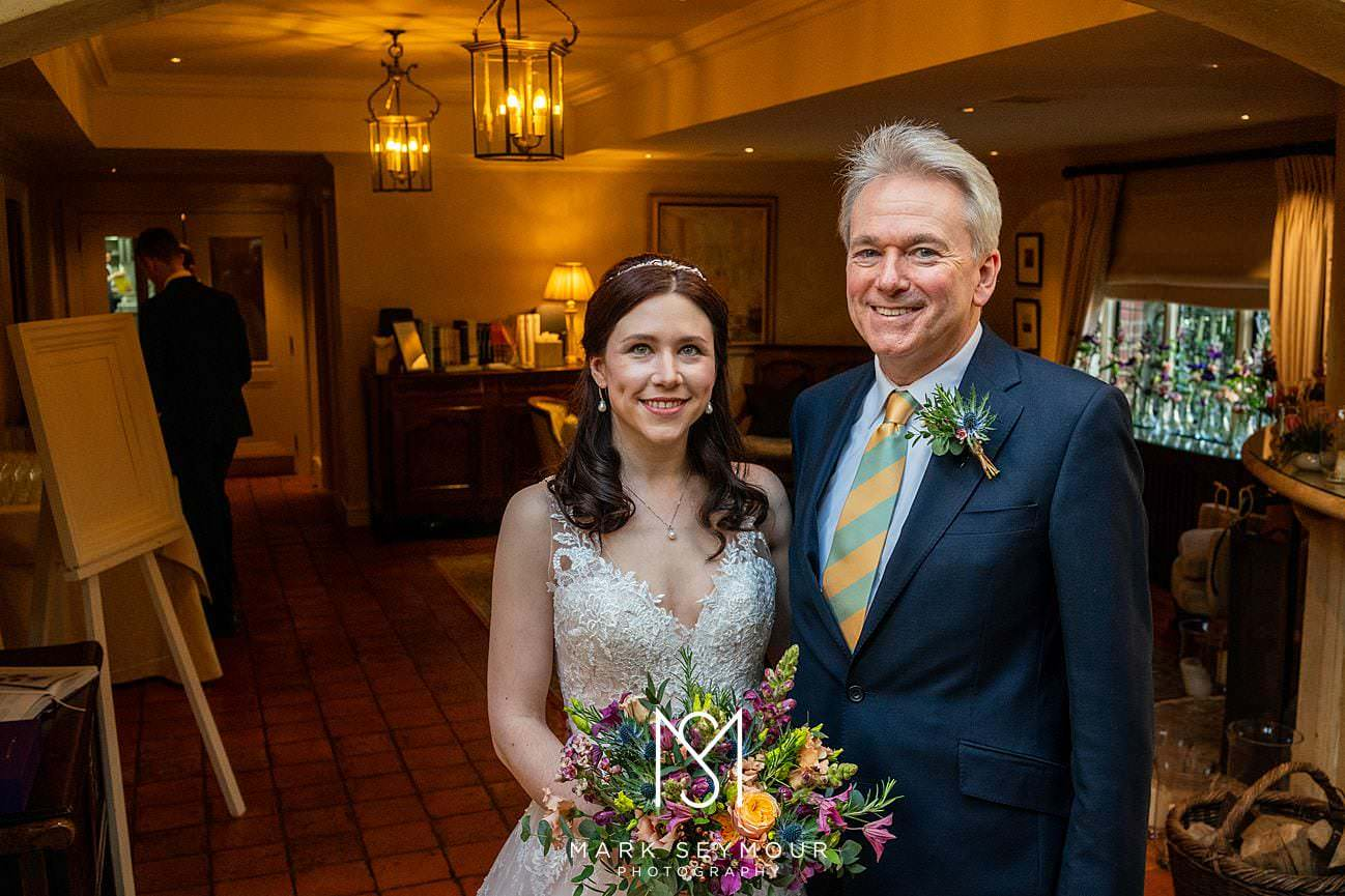 Bride with Dad at Le Manoir