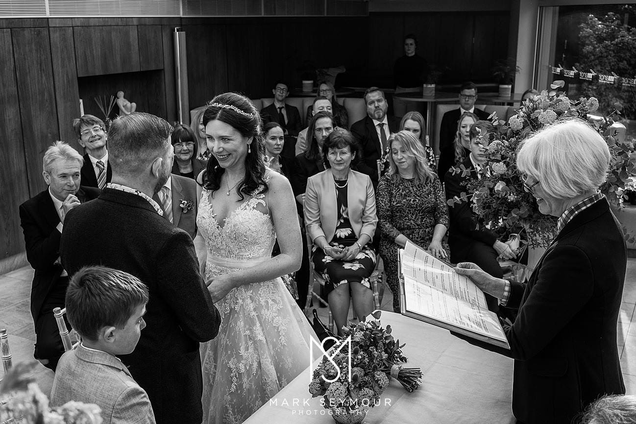 Black and White pic of Le Manoir wedding ceremony