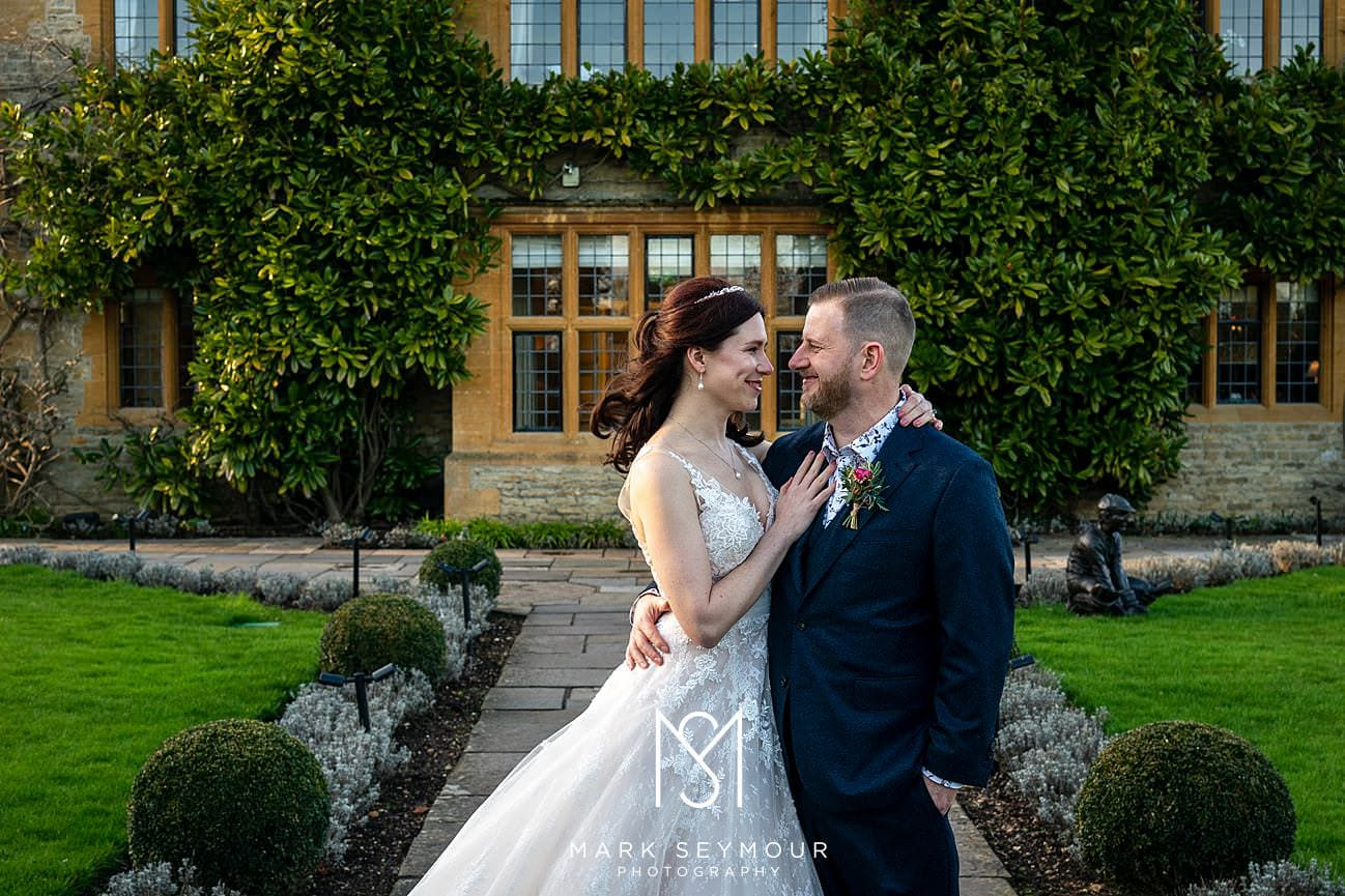 A photograph of the bride and groom at Le Manoir