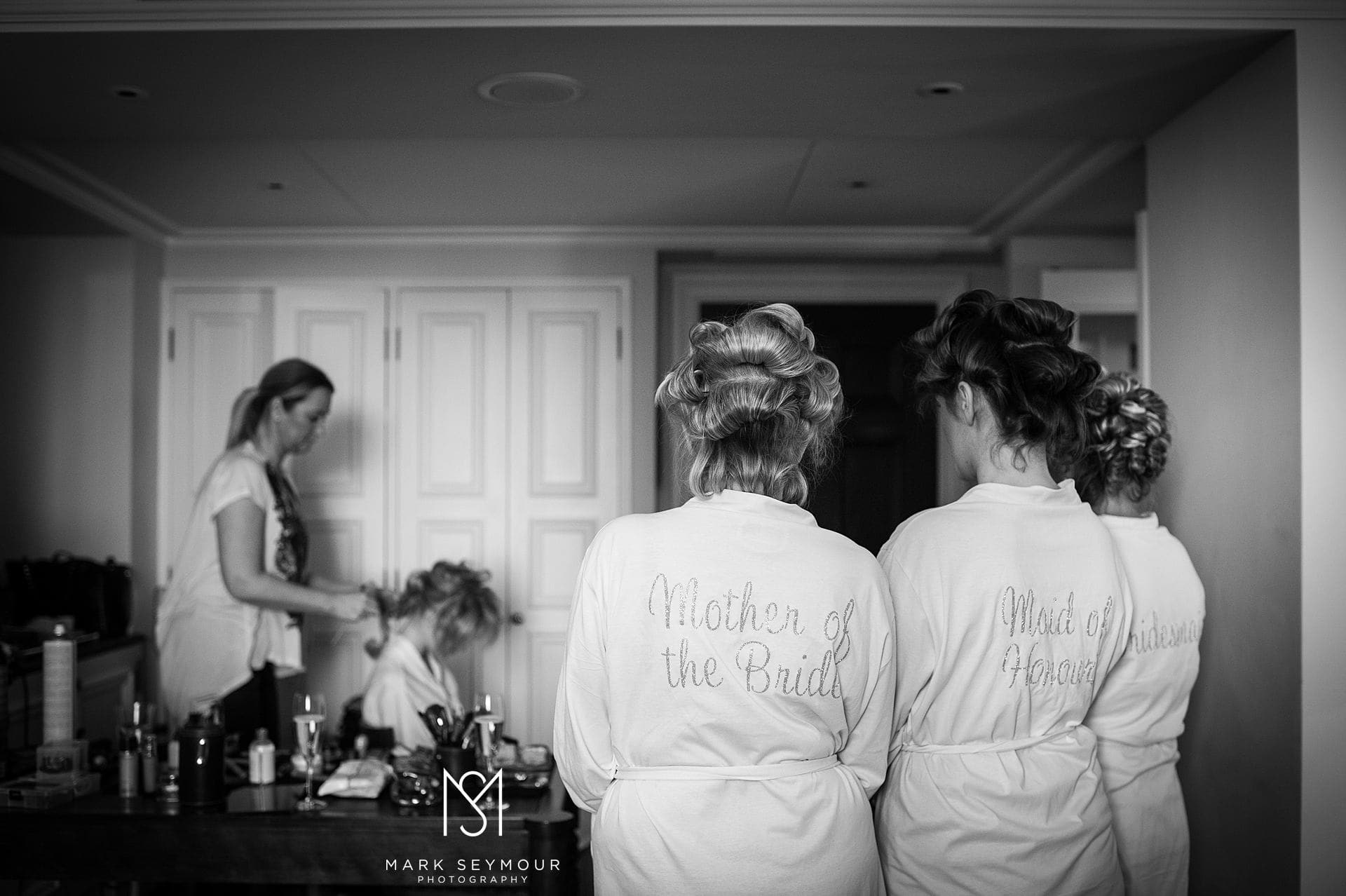 Bride and bridesmaids at The Langham