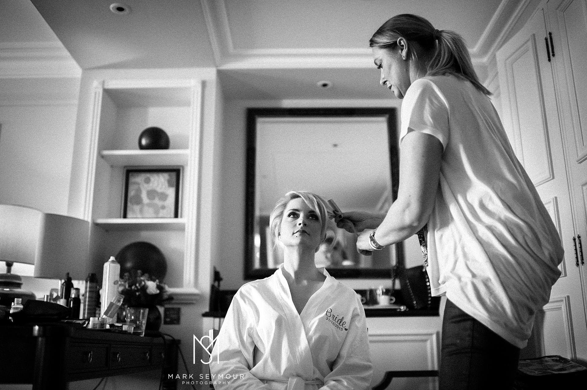 Bride getting ready for her Langham Wedding