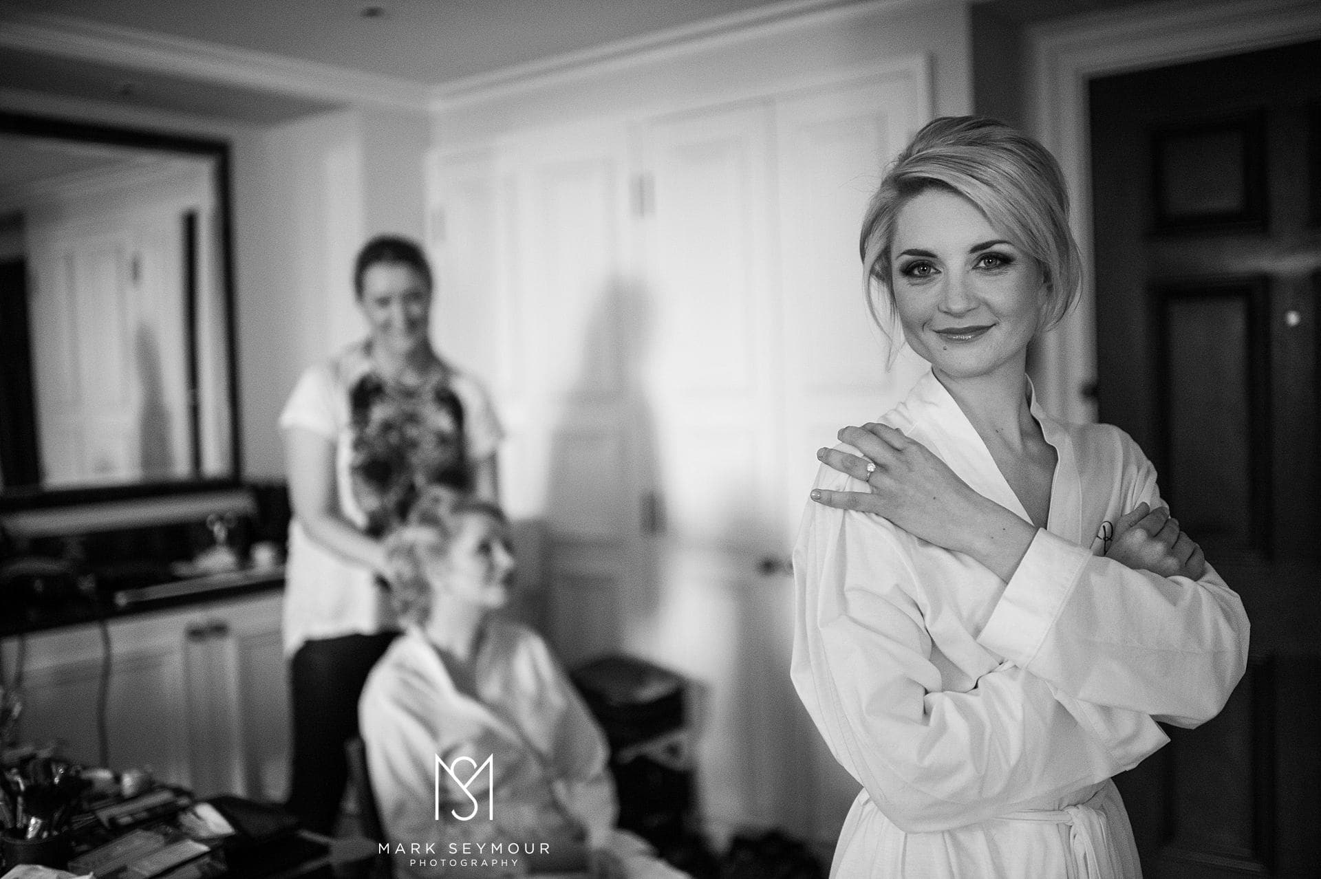Bride in dressing gown at The Langham