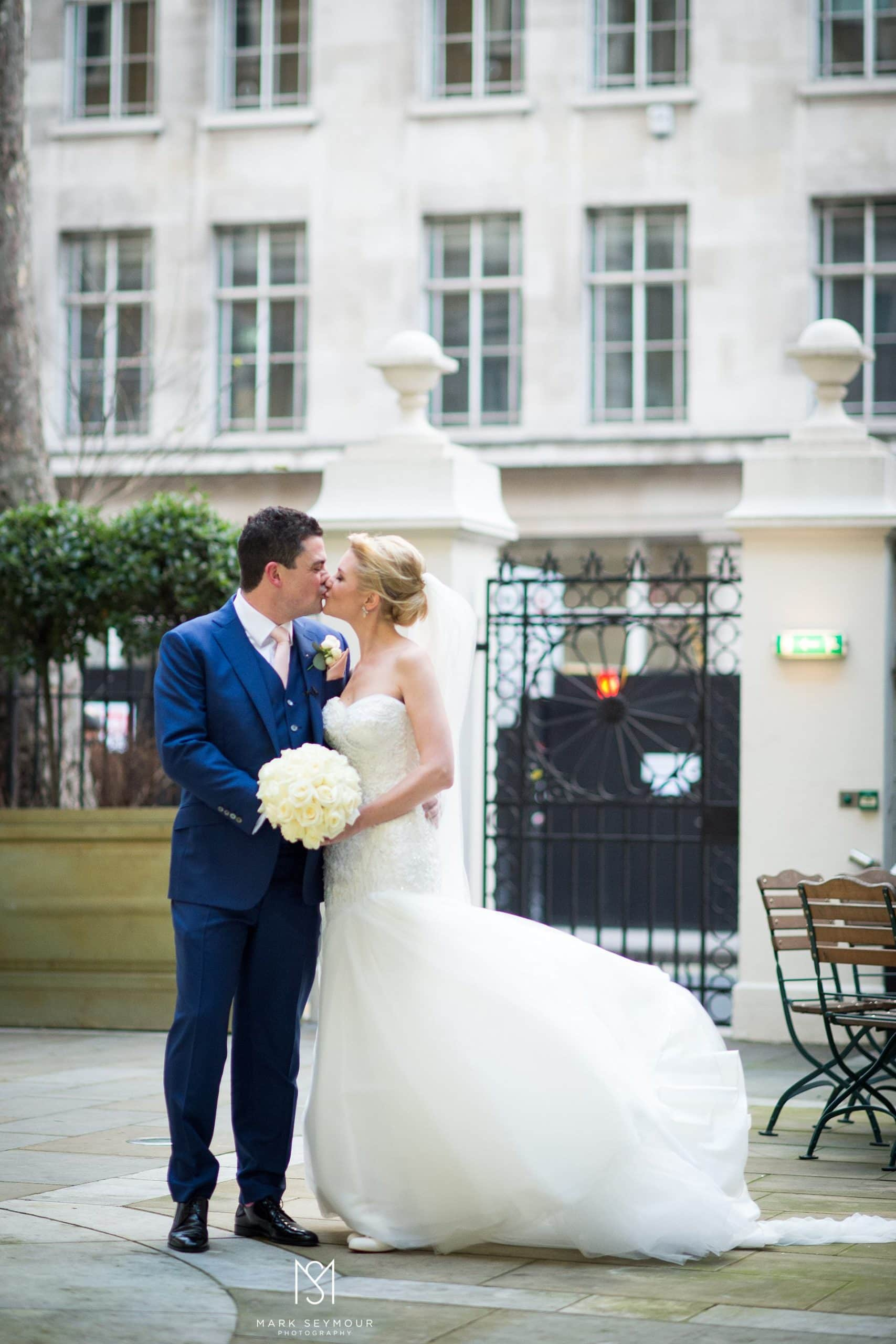 Bride and groom photo at The Langham