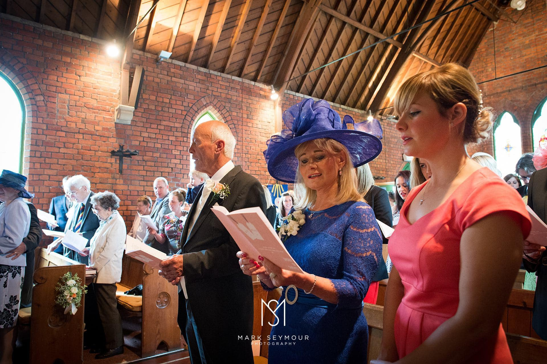 Singing at a church wedding