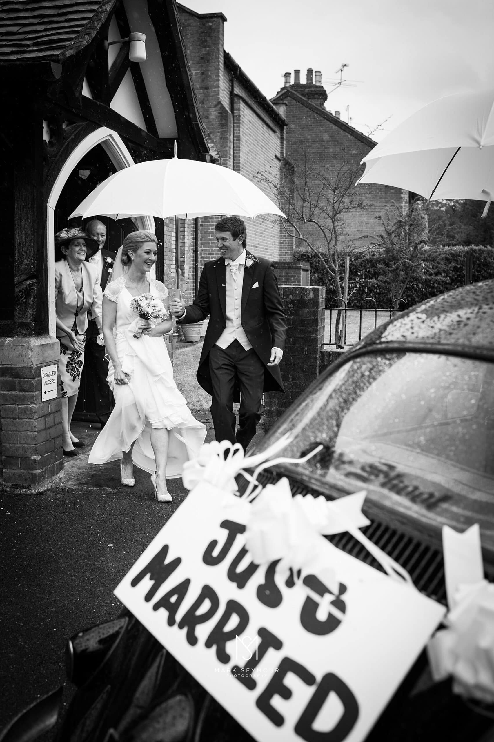 Just Married at the church door