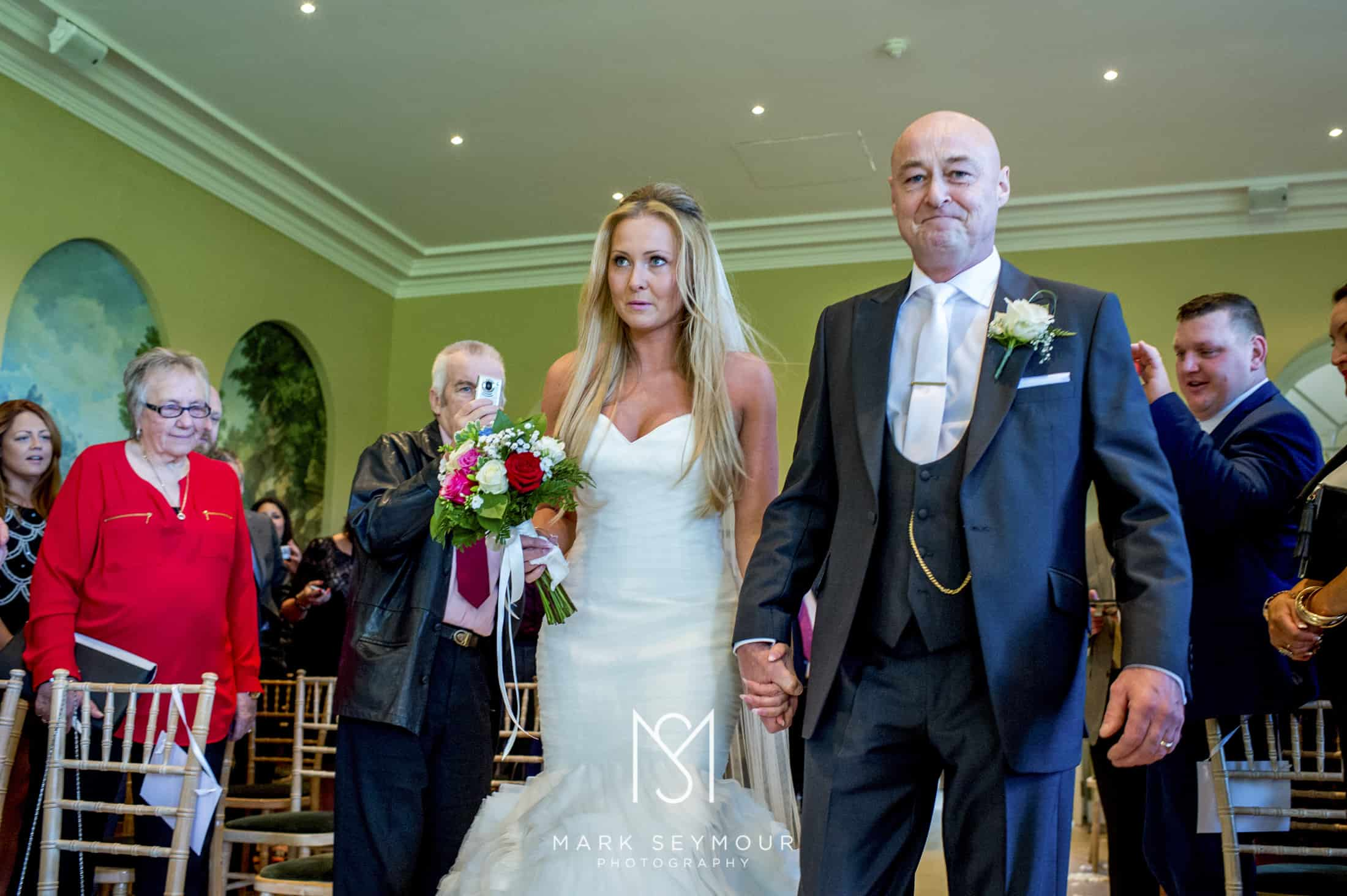 Bride with dad at Braxted Park